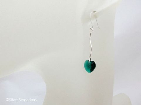 Green Swarovski Crystal Hearts & Solid Sterling Silver Curved Bar Drop Earrings